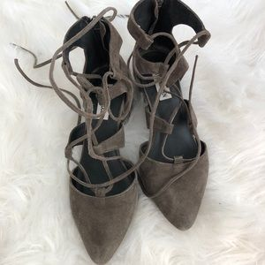Suede lace up block heels